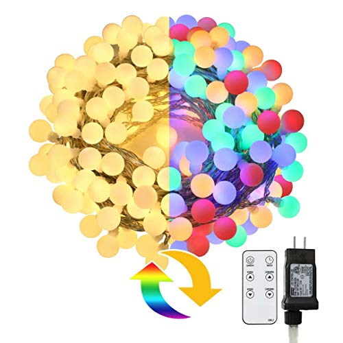 Led Globe String Lights, Upgraded 66ft 150 Leds Color Changing Christmas Lights with Remote, Plug in Waterproof Extendable Fairy Lights Decoration for Indoor Outdoor Wedding Birthday Party Xmas