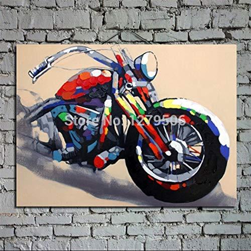 FUWANG Muurstickers Handgetekende Abstract Olieverfschilderij Muurschildering Op Doek Voor Huisdecoratie 1 st Koele Motorfiets Als Beste Geschenk