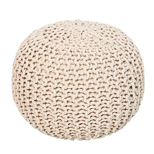 REDEARTH Round Pouf Bean Bag Ottoman - Foot Stool Hand Knitted - Cord Boho Pouffe - Poof Accent Beanbag Chair Footrest for The Living Room, Bedroom, Nursery,...
