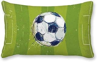 happygoluck1y - Fundas de cojín rectangulares de 30 x 50 cm, diseño de balón de fútbol sobre hierba, color blanco