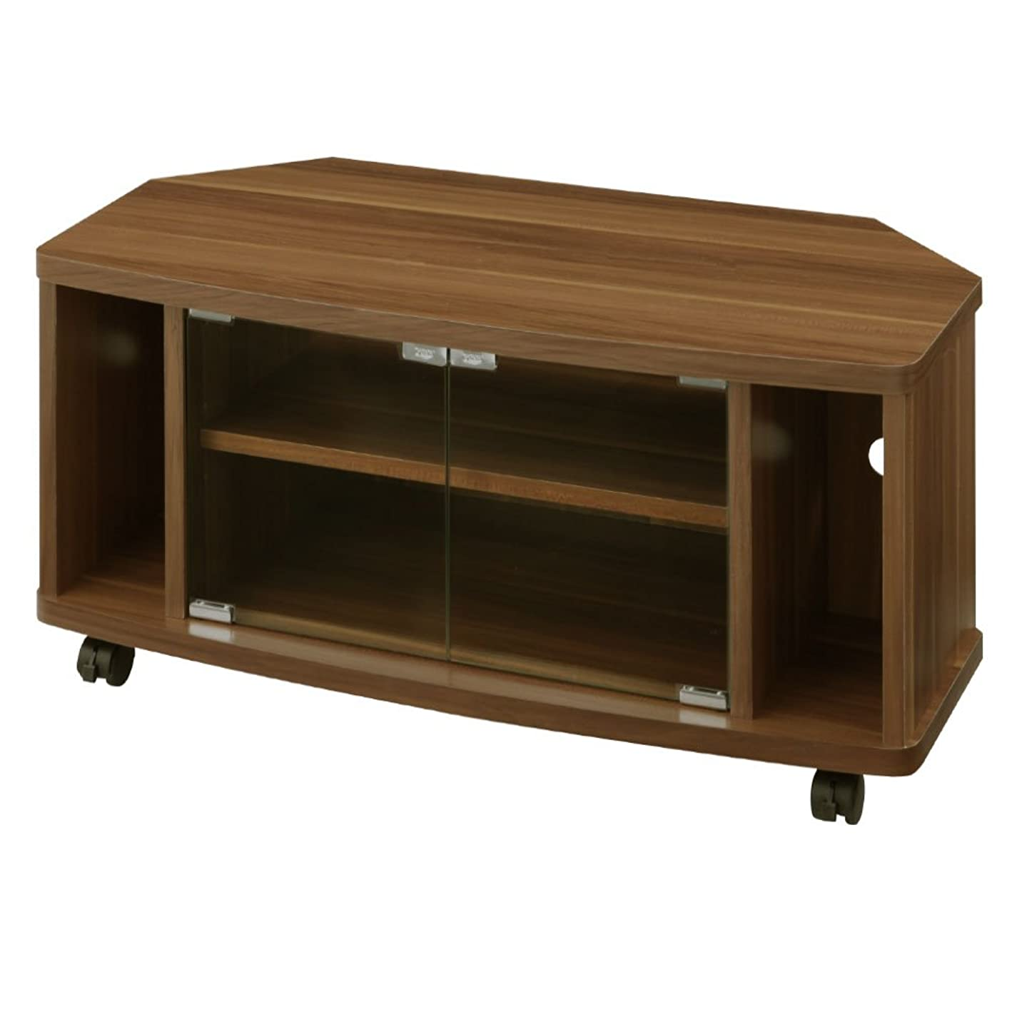 摂動くつろぎ研磨ぼん家具 テレビ台 32型 コーナー 木製 扉付き オーディオラック 幅80cm ウォールナット