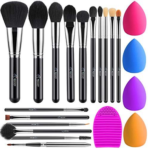 Pinselset Make up Pinsel Set 16 Stück mit 4 Beauty Schwamm und Bürste Wash Ei BESTOPE Pinsel Set...