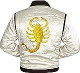 Chaqueta blanca ligera estilo bombardero de satén para hombre Drive Scorpion