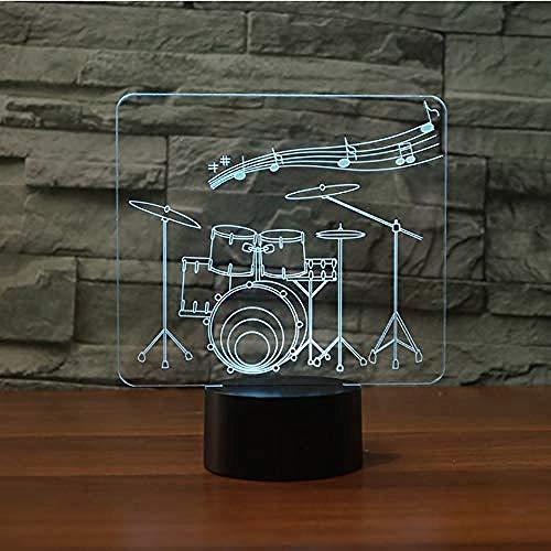 Interruptor táctil de 7 colores, modelado de tambor de arte 3D, luz nocturna LED, lámpara de mesa musical, atmósfera USB, decoración de habitación, accesorio de iluminación, regalos para niños