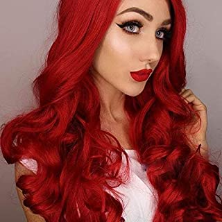 Imstyle Ariel Red Lace Front Wigs Long Wavy Synthetic Wig For Women Cosplay Heat Resistant Hair With Natural Hairline Part Freely 26 Inch