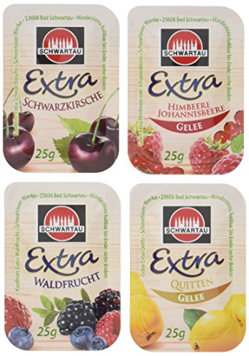 Schwartau Sortimentskartion Portionsschalen (Schwarzkirsche, Himbeere-Johannisbeere, Waldfrucht, Quittengelee), 100er Pack (25 x 25g je Sorte)