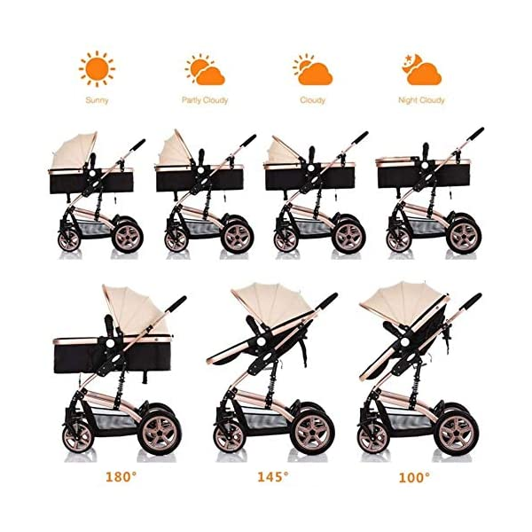 LAMTON High-View Stroller, Multi-Position Adjustable Shock-Absorbing Folding Four Season Jogging Stroller for Infants from 0 to 36 Months. Send 7 Gifts LAMTON Lycra skin-friendly fabric. Thick and non-pleated, soft and silky, warm and breathable, the best choice for baby soft skin. The frame connection is supported by a spring bracket, which effectively alleviates the shaking of the body, makes the cart more stable, and the baby sleeps more securely. Big fill cradle. High view. Reversible stroller seat. damping. Bump bumper. Large storage basket. Front wheel rotation with suspension spring. Fully adjustable 5-point seat belt Made of high-quality carbon steel pipe: streamlined curve, no rust, anti-oxidation, impact resistance, high strength, can adjust the most comfortable push position; reversible baby stroller seat allows the baby to easily face the parents or face the world. 6