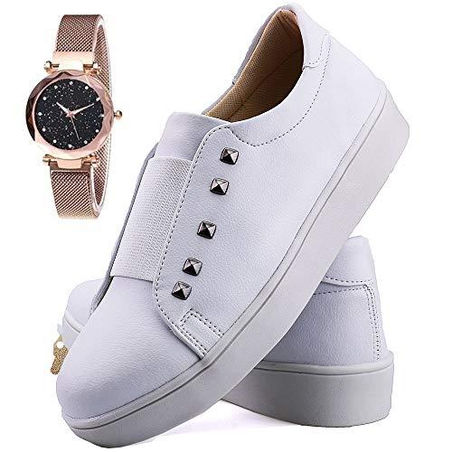 Tênis Sapatênis Neway Feminino Plataforma Branco com Relógio - 7106Branco