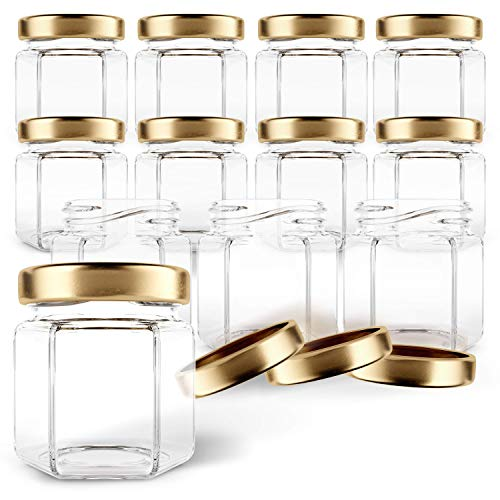 Gojars Hexagon Glass Jars 1.5oz Premium Food-grade. Mini Jars With Lids For Gifts, Wedding Favors, Honey, Jams And More. (12, 1.5oz)
