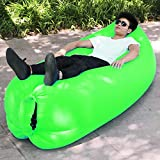 Rainny Sofá hinchable, sofá cama inflable de playa al aire libre, saco de dormir, (Color: verde)
