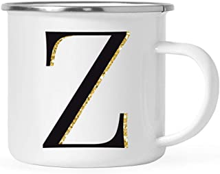 Andaz Press Kids Stainless Steel 11oz. Campfire Coffee Mug Gift, Black Faux Gold Glitter Monogram Initial Letter Z, 1-Pack, Christmas Birthday Camping Camp Cup, Includes Gift Box