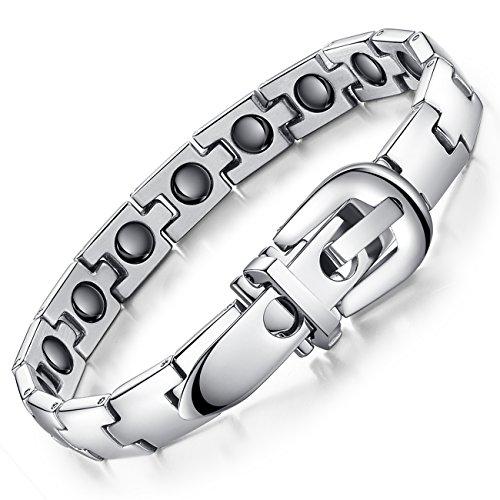 Aituo Titan Stahl Gesundheit Armband, Gesundheit Magnet Armband, Magnetfeldtherapie Schmerzlinderung Armband für Arthritis bei Frauen Männer Armreif