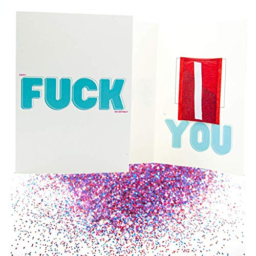 Pranks Anonymous Glitter Prank Card - Joke Glitter Bomb Greeting Cards - Congratulations, Happy Birthday, Thank You & Other Funny Cards - Glitter Card - Prank Mail for Adults - (Fck You, 1x)