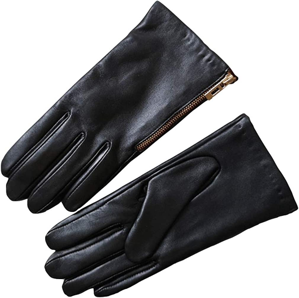 Women's Leather Glove Warme Fleece Lined Side Zipper Elegant Basic Glove Dress Daily Glove with Side Zipper