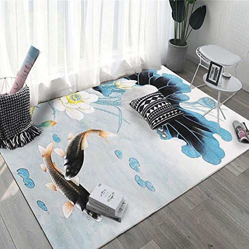 Room Rug Blue fish and lotus pattern salon rugs are dirt-resistant and durable Office Chair Mat Carpet Protector Minimalist environmentally friendly Living Roomes Carpets blue 200X300CM