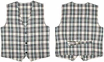 Beige Tartan Vest Costume For Scotland Scottish St Andrew's & Hogmanay Fancy
