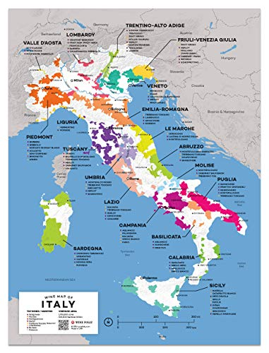 """Wine Folly Italy Wine Map Poster Print (18"""" x 24"""")"""