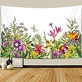 PPOU Hermosa Planta Tapiz Floral Colgante de Pared decoración del hogar Bohemio Hippie psicodélico Manta Tela Colgante A4 150x200cm