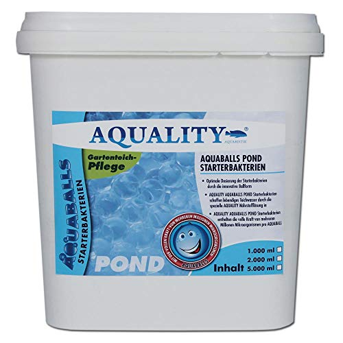 AQUALITY Gartenteich AQUABALLS Pond Starterbakterien (GRATIS Lieferung in DE - Optimale Dosierung - Millionen effektive Mikroorganismen und nützliche Starterbakterien), Inhalt:5 Liter