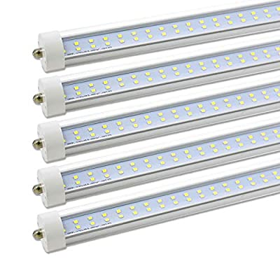 8ft LED Tube Lights,Double Row LEDs T8 FA8 Single Pin 8 foot led Bulb,Cool White,6000K 72W 7200LM,Double-Ended Power AC85-265V