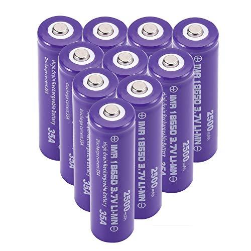 10 pilas recargables 18650 de 3,7 V 2500 mAh de alta capacidad de iones de litio – Batería potente y eficiente – para linterna/cámara, timbre o equipo electrónico