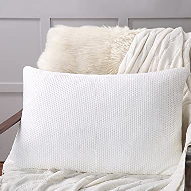King Shredded Memory Foam Bed Pillow with Zipper Removable Washable Bamboo Derived Rayon Cover,Breathable Cooling Hypoallergenic ,Dust Mite Resistant and Luxury for Hotel and Home