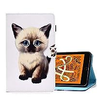 A-BEAUTY Amazon Fire HD 10タブレット(9th / 7th Gen、2019/2017リリース)、無料ペン1本、塗装済みレザースタンドウォレットカバー、オートスリープ/ウェイクアップ、かわいい子猫