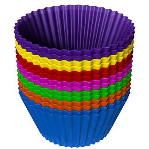 Silicone Cupcake Baking Cups (Pack of 14) - Large Reusable 100% Silicone Baking Cups in 7 Colors - Non-Stick Easy Clean Silicone Cups For Delicious Baking - BPA-Free Silicone Bakeware