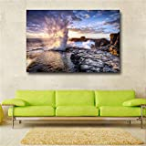 GJQFJBS Canvas Poster Art Print Abstract Sea Wave Negro Azul Pintura al óleo para Sala de Estar Decoración Pintura A4 60x80cm