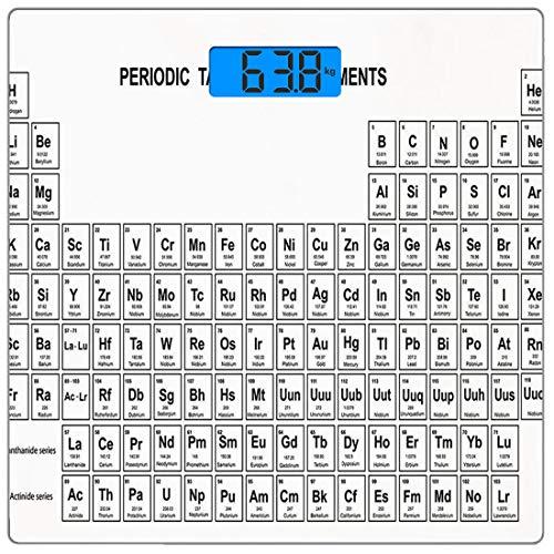 Escala digital de peso corporal de precisión Square Ciencia Báscula de baño de vidrio templado ultra delgado Mediciones de peso precisas,Tabla de elementos para estudiantes de ciencias químicas Químic