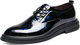 HaiNing Zheng Patent Oxford Shoes for Men PU Leather Breathable Business Dress Wedding Loafers Two Tones Anti-Slip Flat Lace Up Round Toe (Color : Blue, Size : 8 UK)
