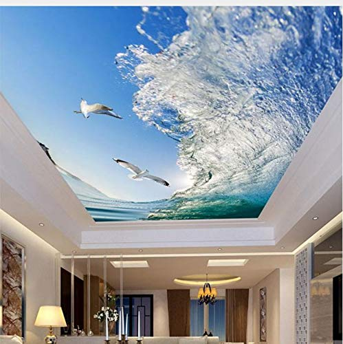 Amazon Com Lifme Custom Mural 3d Ceiling Wallpapers Sea Waves Seagulls Fresh Natural Scenery Wallpaper Living Room Bedroom Ceiling Wallpaper Roll 280x200cm Home Kitchen