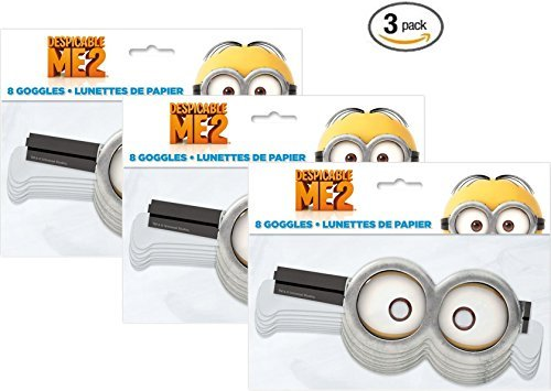Paper Despicable Me Minion Goggles, 8ct (3 pack)