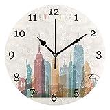 Orologio da parete di New York City Orologio tondo silenzioso senza ticchettio Pittura acrilica Arte Home Office Decorazione scolastica