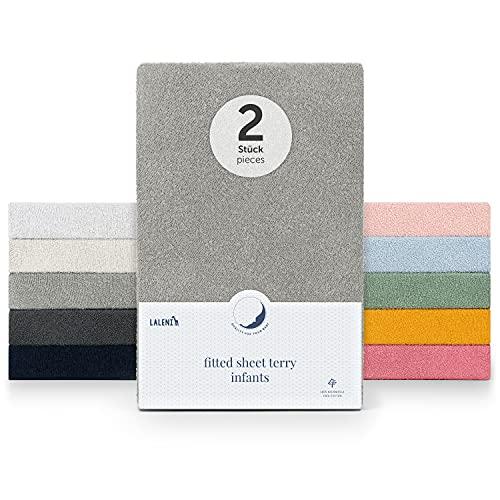 Laleni 2er Set Frottee Spannbettlaken für Babybett Kinderbett - Spannbetttuch 40 x 90cm Oeko-Tex 100 Zertifiziert, Moonlight Grey - grau