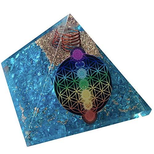 CHONIT Orgonit Pyramide, Chakra-Mix bunt mit Symbol Blume des Lebens, EMF-Schutz gegen Strahlung, klein mit Bergkristall als Deko für zu Hause (Chakra-Mix (Türkis))