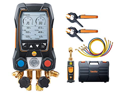 Testo 557s Kit I App Operated Digital Manifold, 2 x testo 115i Pipe Clamp Thermometer, 1 x testo 552i Micron Gauge, 4 x Hoses I for HVAC Systems – with Bluetooth