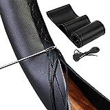 Vintree Bricolaje Cubiertas del Volante Microfibra de Cuero Suave en el Volante del automóvil con Aguja e Hilo Accesorios de Interior Transpirable y Antideslizante de Microfibra de Cuero Negro