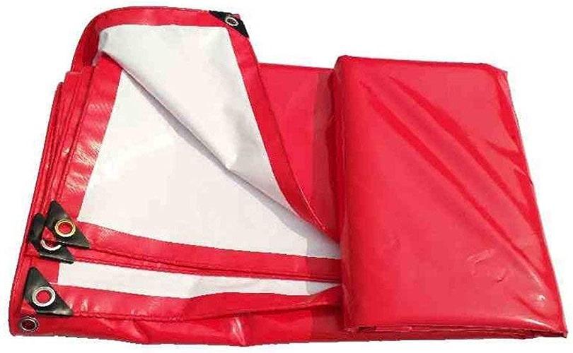 JKL Bache Double Face résistante pour Camping extérieur 100% imperméable et Prougeection UV Rouge et Blanc 450 g m2 épaisseur 0,4 mm, 6X8M