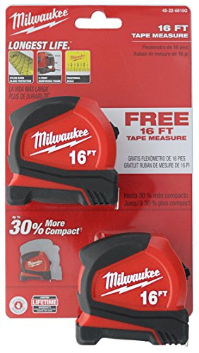 Milwaukee 48-22-6616G 2-Pack of 16' Compact Tape Measures w/ Double-Sided Tape and Scoring Hook
