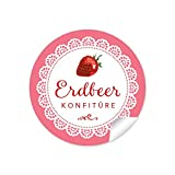 24 STICKER: 24 Schöne Marmeladenetiketten für die Küche in Weiß Rot mit liebevoll illustrierter Erdbeere'Erdbeer Konfitüre' (A4 Bogen) • Sticker/Aufkleber/Etiketten im Format 4 cm, rund, matt