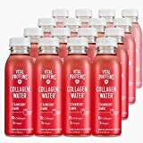 Vital Proteins Collagen Water, 10g of Collagen per Bottle & Made with Real Fruit Juice, Dairy & Gluten Free - Strawberry Lemon, 16 Pack