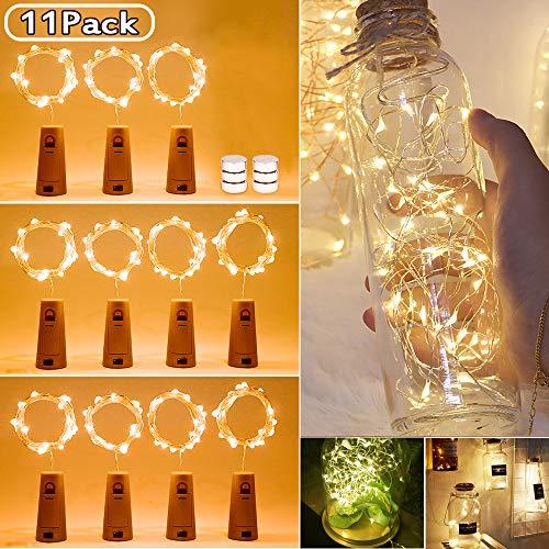 Etmury LED Flaschen-Licht,11 Stück Korken Licht 2m 20 LEDs,Lichterkette Kupferdraht Weinflasche Lichter timmungslichter mit Kork DIY Dekor für Party Weihnachten, Halloween, Hochzeit,Geburtstag