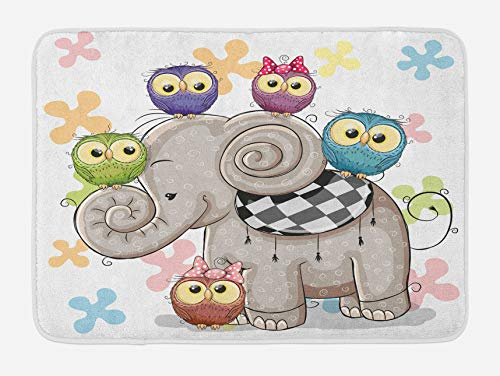 Cartoon Bath Mat, Cartoon Elephant and Owls Floral Background Animal Love Big Eyes Boys and Girls, Plush Bathroom Decor Mat with Non Slip Backing, Pale Taupe 18x30(IN)
