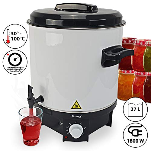 Germatic Einkochautomat- und Heißgetränkeautomat Glühweinkocher mit Zapfhahn Multifunktionsgerät 27 l Volumen