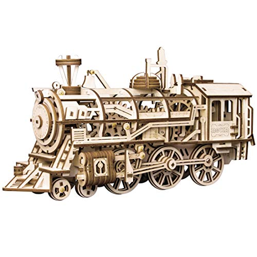 ROKR 3D Wooden Puzzle-Self Propelled Mechanical Model-DIY Building Kits-Brain Teaser Games-Best Gift for Boyfriend or Girlfriend on Birthday/Anniversary/Valentine's Day/Christmas(Locomotive)