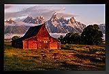 Daybreak at The Barn Jackson Hole Wyoming Photo Black Wood Framed Art Poster 20x14