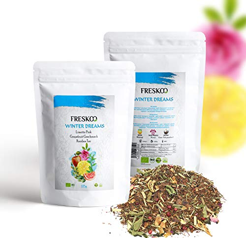 Winter Dreams | Rooibos Tee | Limetten Pink Grapefruit Geschmack | 100% Bio | Handmade | Freskoo | 125Gramm Verpackung
