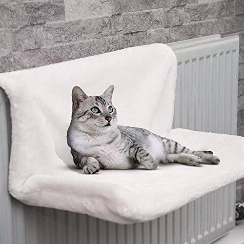 YGWALL Hamaca Colgante para Gatos - Estante de Felpa para Mascotas - Se pliega fácilmente para Viajar - Colgar en Cualquier Lugar, para Viajar Colgar en Cualquier Lugar (Blanco)