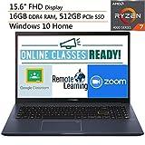 2020 Newest ASUS VivoBook 15 15.6' FHD Laptop Computer, AMD Octa-Core Ryzen 7-4700U (Beats i7-1065G7), 16GB DDR4 RAM, 512GB PCIe SSD, AC WiFi, Webcam, Online Class Ready, Windows 10, iPuzzle Mousepad